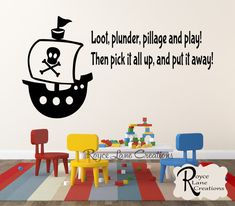 Childrens Playroom Wall Decals Loot Plunder by RoyceLaneCreations