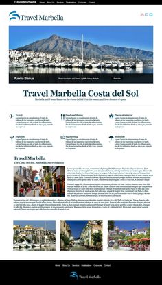 Travel website design, showing all information on Marbella, the old town and all surrounding areas as a great travel destination. Destinationmarbella