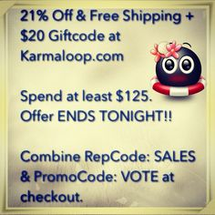 LAST CHANCE: 21% OFF & FREE SHIPPING + $20 GIFTCODE on orders $125 or more at Karmaloop.com. OFFER ENDS TONIGHT. Combine RepCode: SALES & PromoCode: VOTE at checkout. For more codes, visit http://www.Karmaloop-Codes.com #karmaloop #Vote #discounts #coupon #freeshipping #obama #Romney