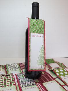 Étiquettes à bouteille de vin, étiquettes-cadeau pour le vin, décoration table de Noël  «Tchin-Tchin!» Stampin' Up! Plusieurs modèles de la boutique Lamainalacarte sur Etsy