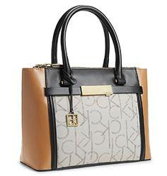 ef526d01b815 Calvin Klein CK Addie Women s Double Zip Carryall Tote Handbag (Sepia) Calvin  Klein http