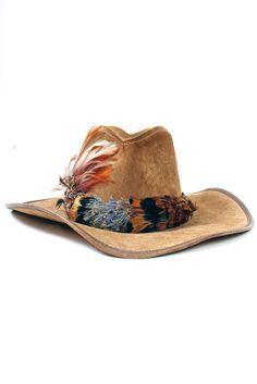 Vintage Brown Suede Feather Cowboy Hat