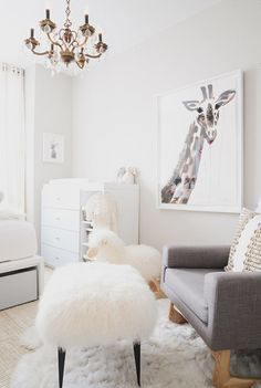 All white nursery with pop of pink and whimsy