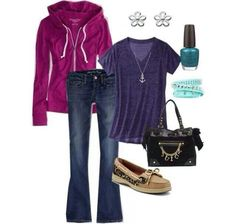 Sweater, jeans, blue t & flats...