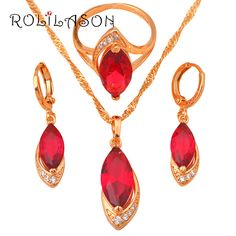 yellow gold tone Necklaces & Pendants Earrings Ring Crystal Sets jewelry CZ  Fashion jewelry Ring sz #6 #7 #8 JS070