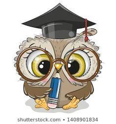 Clever owl with pencil and in graduation cap. Cute Clever owl with pencil and in graduation cap vector illustration Cartoon Whale, Cute Cartoon, Elefante Tribal, Owl Png, Wine Logo, Owl Illustration, Illustrations, Disney Cartoon Characters, Owl Pictures