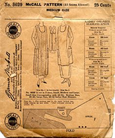 McCall 8629 - Ladies One-Piece Seamless Apron - shows a made up apron. Late nineteen-teens to about 1920