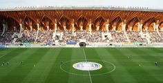 Gorgeous cantilevering roof made of timber tops Hungary's spectacular new Pancho Arena!