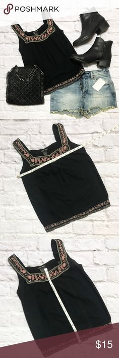 Lucky Brand Detailed Black Tank Top Lucky Brand Detailed Black Tank Top condition: EUC (excellent used condition) color: Black fit: True to size other: N/A Lucky Brand Tops Tank Tops