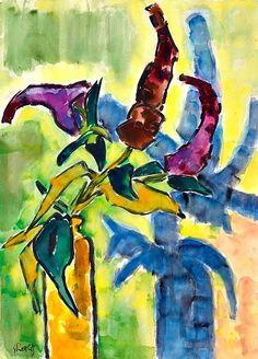 Karl Schmidt-Rottluff  Flowers in Yellow Bottle  1960