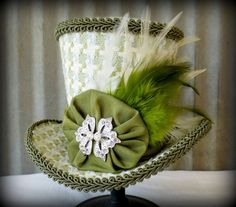 Pistachio, blue and white Herringbone Mini Top Hat, Baby Shower, Mini Mad Hatter Hat, Tea Party Hat, Alice in Wonderland