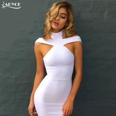 Cheap bandage dress, Buy Quality women dress directly from China party dresses Suppliers: New Bandage Dress 2018 Celebrity Evening Party Dress Vestidos Sexy Off The Shoulder Halter White khaki black Club Women Dresses Tight Dresses, Sexy Dresses, Cute Dresses, Beautiful Dresses, Short Dresses, Fashion Dresses, Halter Dresses, Strapless Dress, Midi Dresses