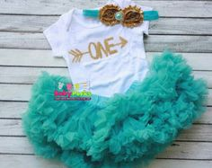 First Birthday outfit. Girls birthday outfit. Aqua by KadeesKloset
