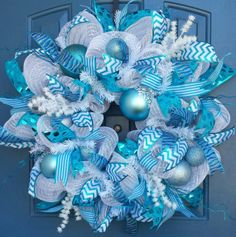 Blue and White deco mesh wreath