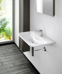 Delicate fine lines define the Arnika. Created in the finest European Mineral Cast the Arnika delivers a large format basin in a sleek modern. Basins, Double Vanity, Range, Bath, Modern, Home Decor, Arnica Montana, Cookers, Bathing