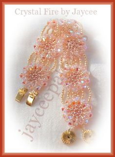 Bead Patterns Boutique - Crystal Fire Bracelet - Triangle weave and netting stitch