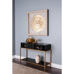 "35 in. x 35 in. ""Gold Feather Spiral"" Wall Art-TN-891368 - The Home Depot"