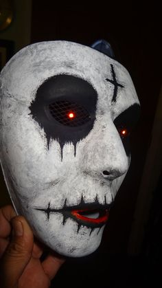 The perfect Halloween mask Get your PURGE on Hand painted and handmade Lightweight plastic mask - Comfortable to wear Measures 7 x 5 LED coin battery operated that lasts for days Easy to see even with the led eyes on Adjustable Elastic Strap On/Off Switch Halloween 2020, Halloween Masks, Halloween Face Makeup, Mascaras Halloween, Plastic Mask, Scary Halloween Decorations, Red Led, Anarchy, Hand Painted