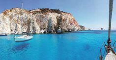 Polyaigos island (Πολύαιγος) next to Kimolos island Cyclades! The unique uninhabited island with crystal-clear waters and impressive rock formations . Cyclades Islands, Paros, Mykonos, Crystal Clear Water, Rock Formations, Photos Du, Belle Photo, The Great Outdoors, Sailing