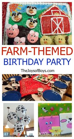 Baby's First birthday : Farm Themed Birthday Party complete with Farm Birthday Cake and farm animal cupcakes, and western party decorations. Farm Birthday, Baby First Birthday, Boy Birthday Parties, Birthday Party Decorations, Birthday Ideas, Farm Themed Party, Barnyard Party, Farm Party, Anniversaire Cow-boy