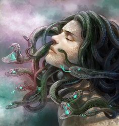 MEDUSE = (Mythologie grecque) Elle a la chevelure entrelacée de serpents, et son visage a le pouvoir de pétrifier celui qui le regarde.