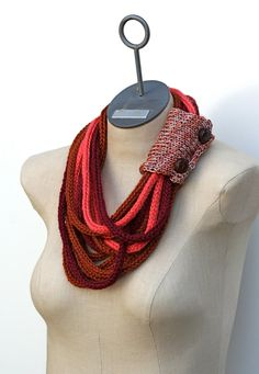 Ready to Ship Burgundy Tangerine and Sienna Hand Knit by AmyLaRoux, $50.00