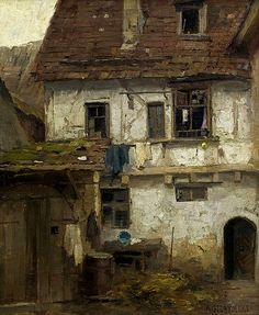 Aleksander Gierymski 1850-1901 (Polish), Backyard in Munich, oil on canvas, 1870-1874