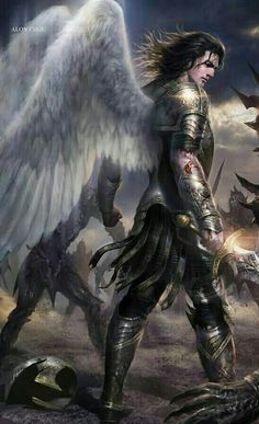 Artist: Alon Chou - Title: Unknown - Card: Judo the Half-God Angels Among Us, Angels And Demons, Fantasy Male, High Fantasy, Fantasy Inspiration, Character Inspiration, Male Angels, Angel Warrior, Archangel Michael