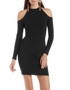 Cold Shoulder Bodycon Dress with Mock Neck