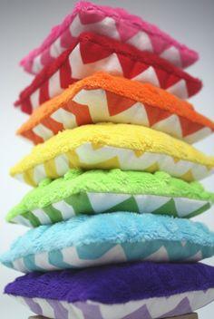 Chevron Rainbow Minky Bean Bags - pinned by pin4etsy.com