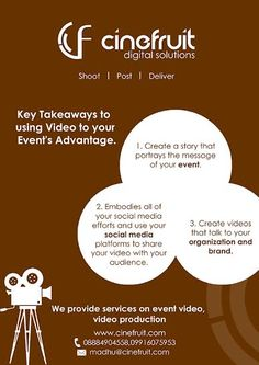 Key takeaways to use for your #event_video  #corporate_video #cinefruit #Bangalore