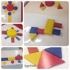 Jogo com blocos lógicos para trabalhar cores, formas, discriminação visual e muito mais! #byprirossi #preschool #puzzle #formasgeométricas #cores #educaçãoinfantil #blocoslógicos