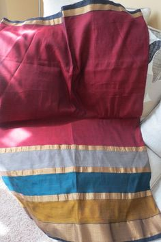 Cotton Sari in Maroon #Unbranded
