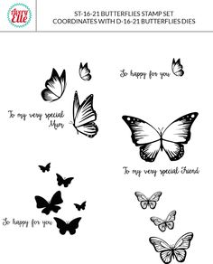 Avery Elle Butterflies stamp and die - see full range , available from thelittlepapertree.com online shop.