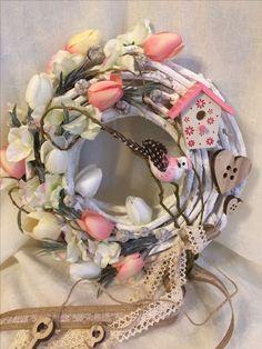 Summer Crafts, Diy And Crafts, Ideas Geniales, Grapevine Wreath, Floral Wreath, Shabby Chic, Crafting, Jar, Wreaths