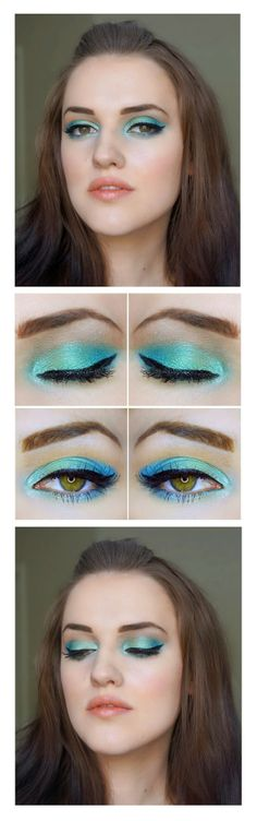 Green and blue electric palette eye shadow tutorial