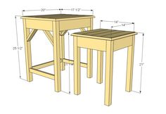 Nesting side tables with cute cottage charm for your living room! DIY plans to build these nesting end tables inspired by Pottery Barn Pratt Nesting Side Tables. Redo End Tables, End Table Plans, Side Tables, Diy Furniture Projects, Diy Furniture Plans, Woodworking Furniture, Wood Projects, Metal Furniture, Pallet Furniture