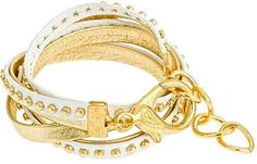 Alexandra Beth Two-Tone Leather Bracelet in Gold and White
