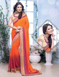 Orange Georgette Saree With Designer Blouse Email : info call : 7698234040 (what's app) Red Saree, Lehenga Saree, Georgette Sarees, Indian Designer Sarees, Designer Sarees Online, Wedding Sarees Online, Sarees Online India, Western Wear For Women, Latest Sarees