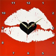 3dRose dpp_45407_3 White Lips Against a Red Background with Black HeartWall Clock 15 by 15Inch *** Click on the image for additional details.