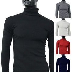 NEW GOODS NEW ITEMS Men Fashion Thermal Turtle Neck Sweater Slim Fit Long Sleeve Stretch Shirt Top