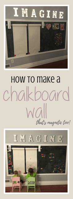 A chalkboard wall is the perfect addition to a children's playroom. Read more on how to make a DIY chalkboard wall (that is magnetic too!)