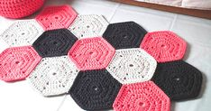 Items similar to Coral Crochet Rug - Nursery Rug - Kidsroom Decor- Playrooms Rug - Crochet Floor Rug - Accent Rug - Cotton Rug - Crochet Rug - Knit Rug on Etsy Crochet Carpet, Crochet Home, Knit Crochet, Cotton Crochet, Crochet Hexagon Blanket, Crochet Rug Patterns, Crochet Simple, Modern Crochet, Playroom Rug