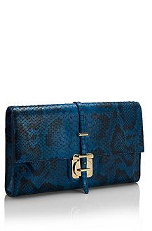 'Caledony-P' | Python Printed Leather Clutch