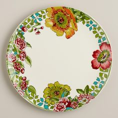 Made of earthenware with a design inspired by nomadic artwork, our exclusive dinner plates set a vibrant table. >> #WorldMarket Dining Room
