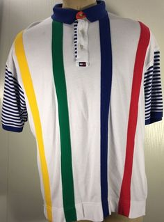 "VTG 90S TOMMY HILFIGER GOLF STRIPED COLORBLOCK POLO SHIRT ""Scioto"" #TOMMYHILFIGER #PoloRugby"