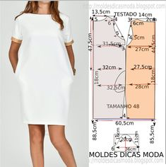 Vestido branco casual (Moldes Dicas Moda) - Matter Tutorial and Ideas Belted Shirt Dress, Tee Dress, Sewing Clothes, Diy Clothes, Dress Sewing Patterns, Fashion Sewing, Moda Fashion, Fashion Tips, Elegant Dresses