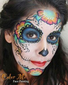 Sugar skull face painting - color me face painting - vanessa mendoza. Sugar Skull Face Paint, Sugar Skull Makeup, Sugar Skull Art, Sugar Skulls, Face Painting Colours, Face Painting Designs, Dead Makeup, Scary Makeup, Vanessa Mendoza