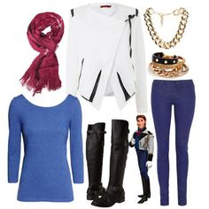 Prince Hans - Frozen.  A white and black blazer instantly makes a shirt/jean combo more exciting.  Read more: http://www.gurl.com/2014/01/14/cute-winter-outfits-inspired-by-frozen-characters-polyvore/#ixzz3Ntw2Y6SG