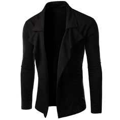 Personality Irregular Top Fly Solid Color Sutures Design Lapel Long Sleeves Slimming Blazer For Men